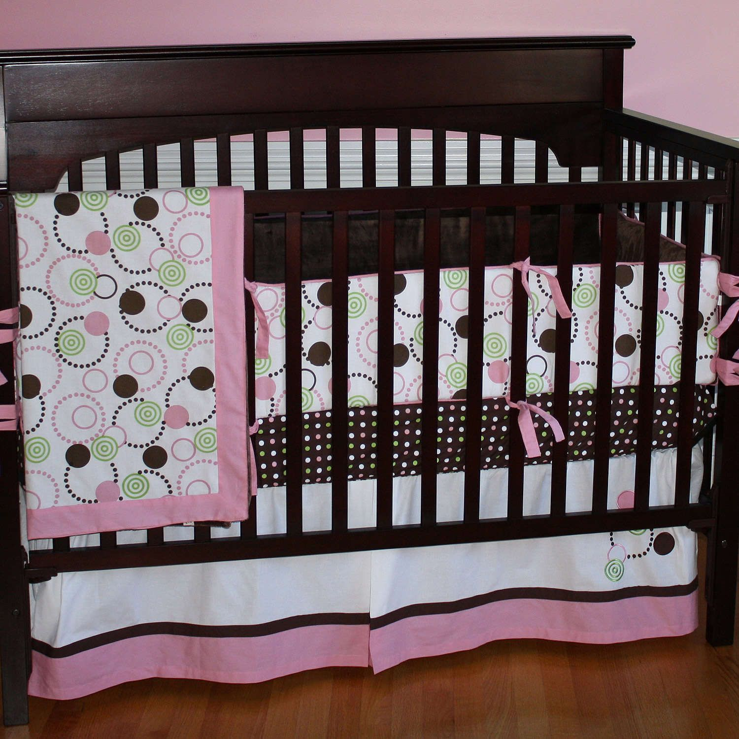 Brown And Pink Crib Set Time