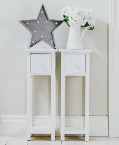 Best Details About Pair Of Tall Slim Bedside Telephone Tables 400 x 300