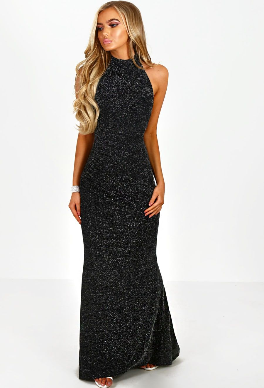 1fab2f5135a Try Your Luck Black Glitter Halterneck Maxi Dress - 8