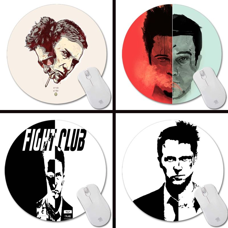 Brad Pitt Edward  Fight Club Tyler Durden club Mouse Pad Round Soft Silone Mousepad Desktop Pads Mouse Mat for Optal
