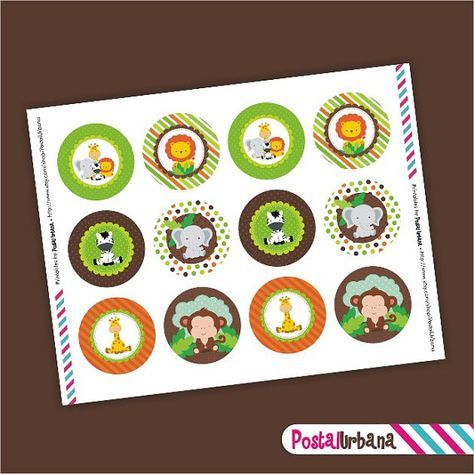 Imprimibles Toppers Cupcake Safari Animales por PostalUrbana