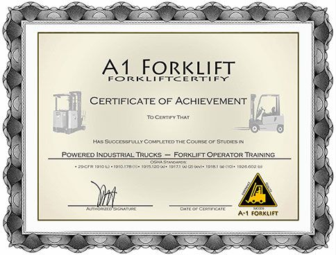 Forklift certification forklift training onsite for Forklift licence template