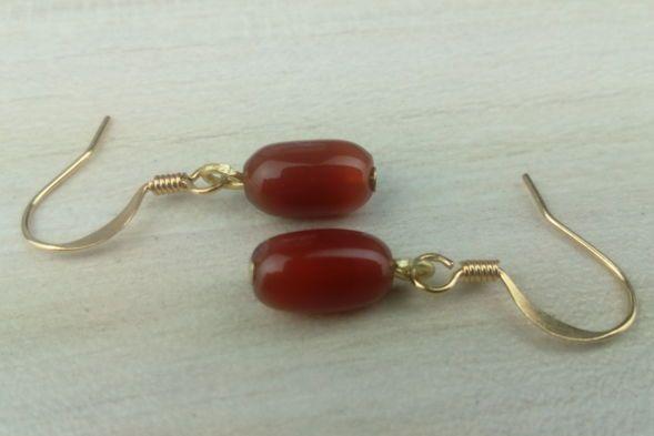 Tubular Carnelian Earrings 1