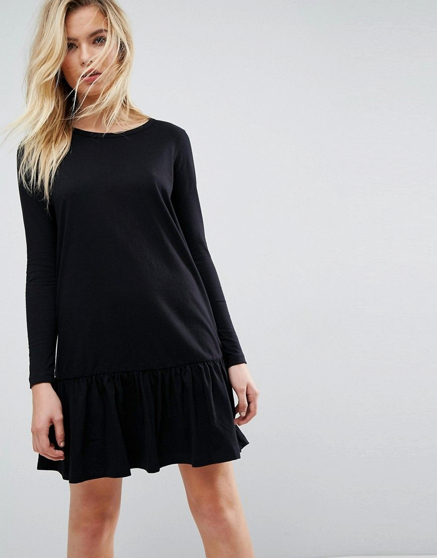 Asos mini drop hem tshirt dress with long sleeves black