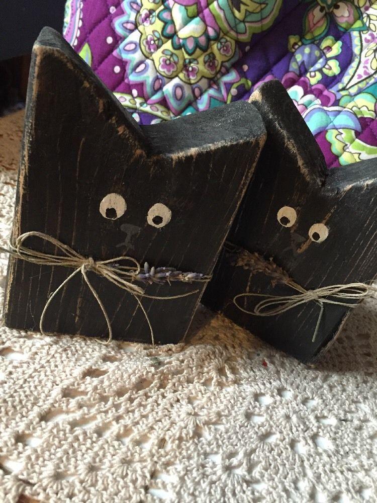 Wooden Cat Blocks Halloween Shelf Black Cat Fall | eBay