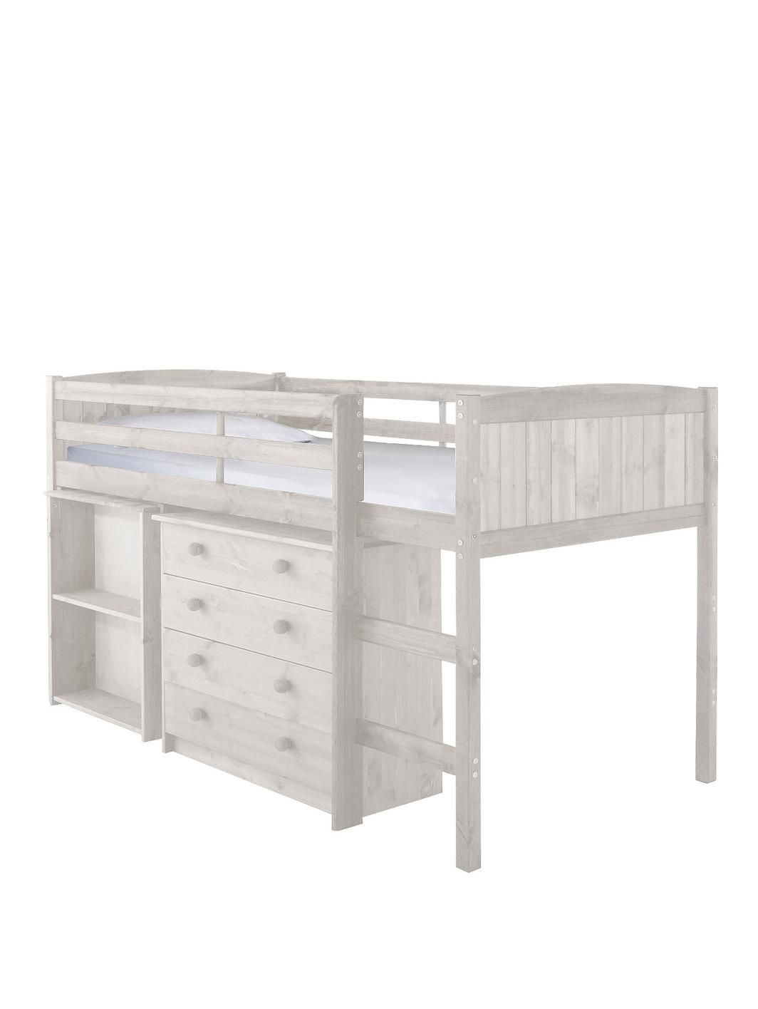 Kidspace Georgie Solid Pine Mid Sleeper Bed Frame with Desk and ...