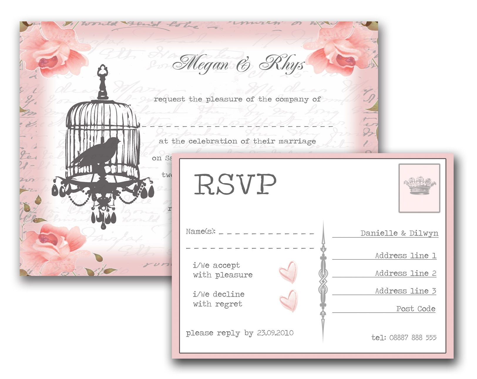 Vintage Birdcage Wedding Invitation Dusky Pink Retro Roses