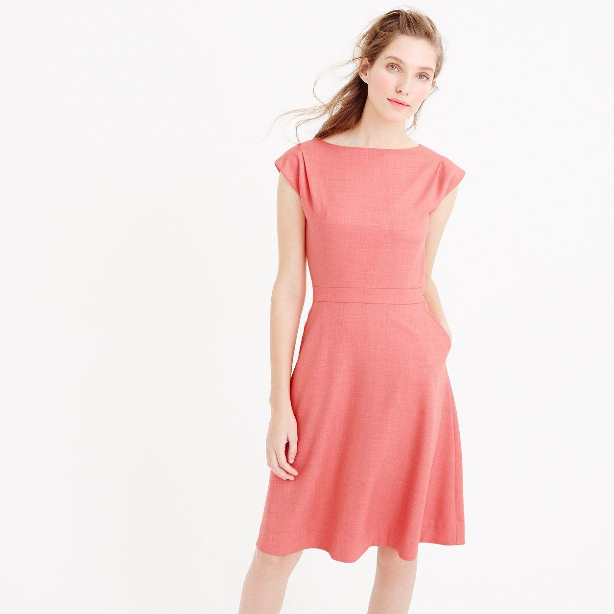 5f961ed995 J.Crew Womens Cap-Sleeve Dress In Super 120S Wool (Size 10 ...