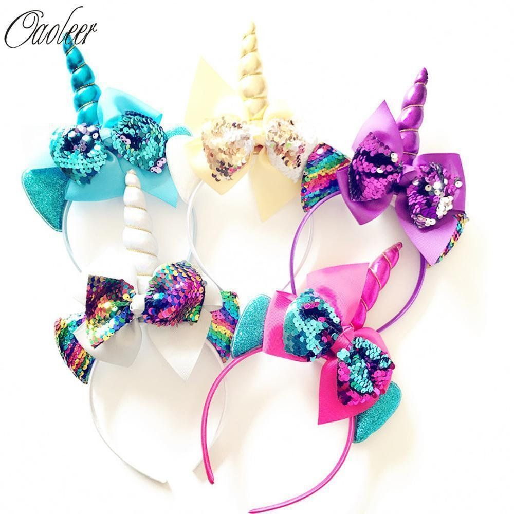 Sequin Cartoon Headband Girls Big SequinBows Hairband For Kids Rainbow  Cartoon H Unicorn Headband 6627640fb89