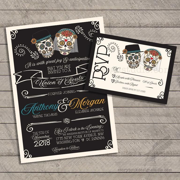 Dia De Los Muertos Wedding Invitation And Rsvp