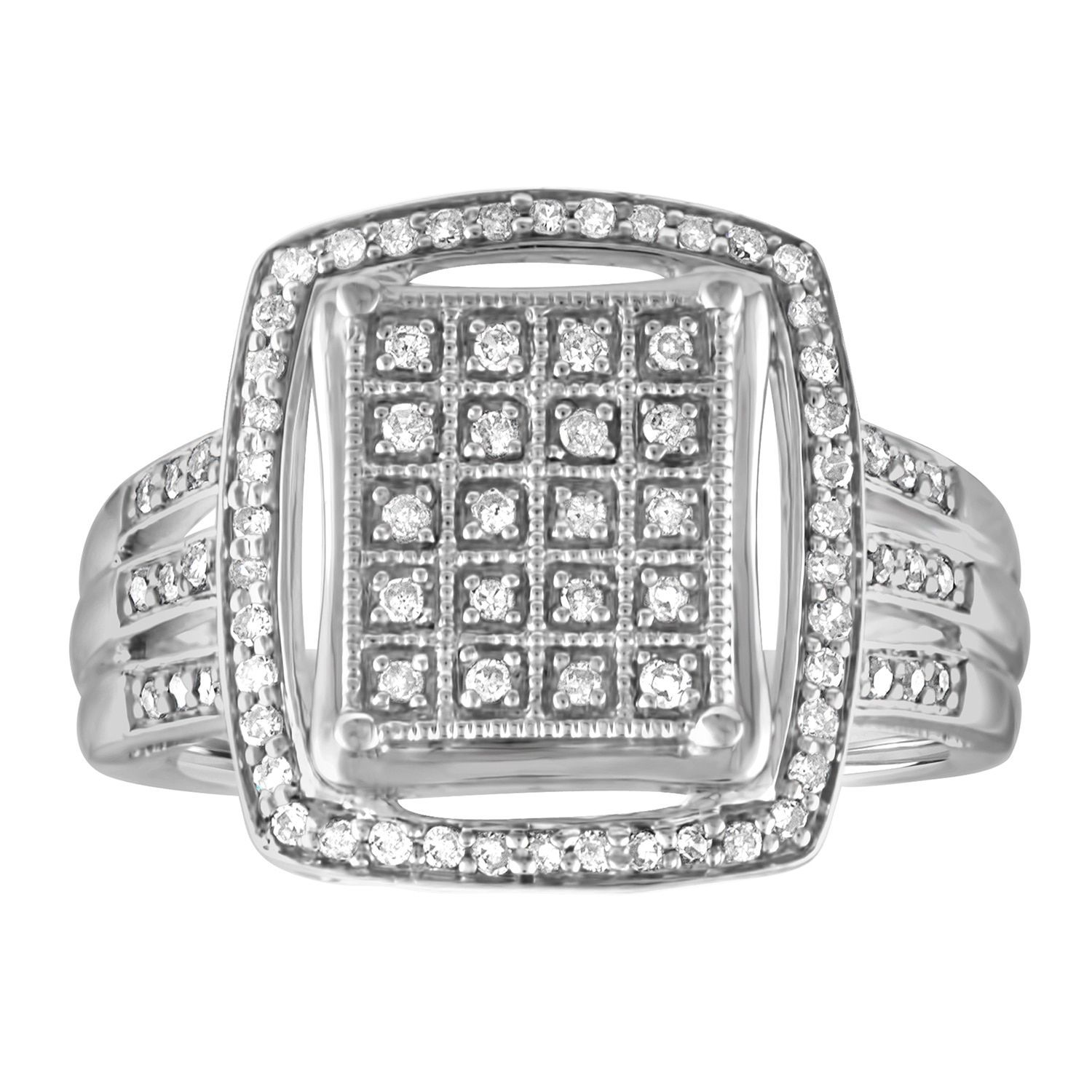 Ever One Sterling Silver 1/3ct TDW Diamond Vintage Cocktail Ring