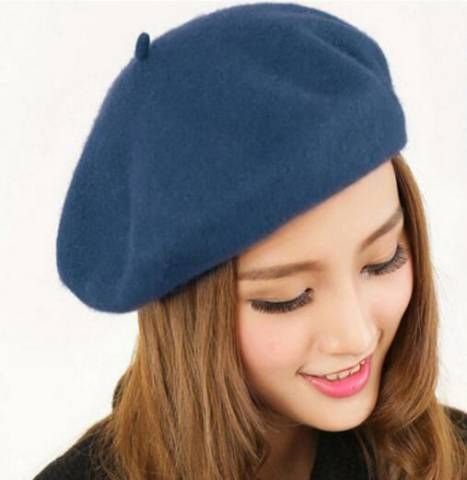 Plain gray French beret hat for ladies winter wool hats  f690614578cb