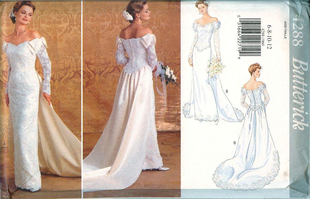 Erick 4288 Wedding Bridal Dress Gown Off Shoulder Sewing Pattern Uncut Ff