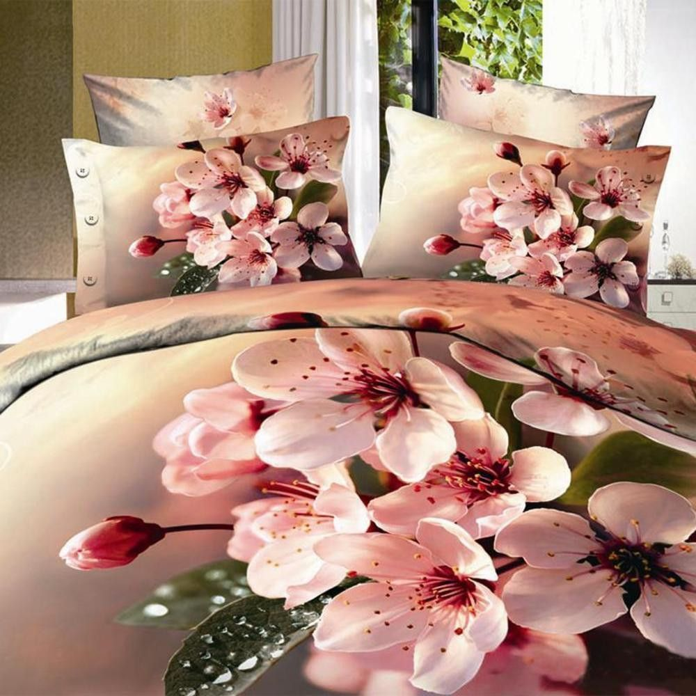 3d Pastel Pink Flower Bedding Set 100 Cotton Sizes Full Queen