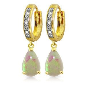 14K Solid Gold Hoop Earrings Diamond Opal - 2190