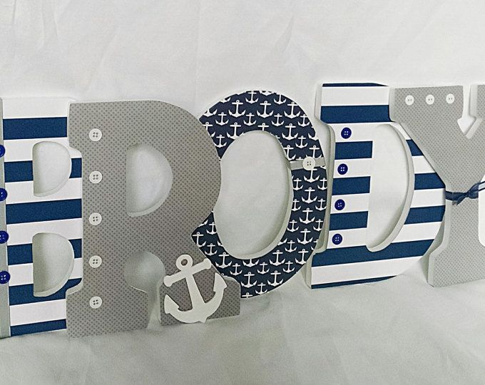 Nautical Nursery Letters Baby Boy Name Custom