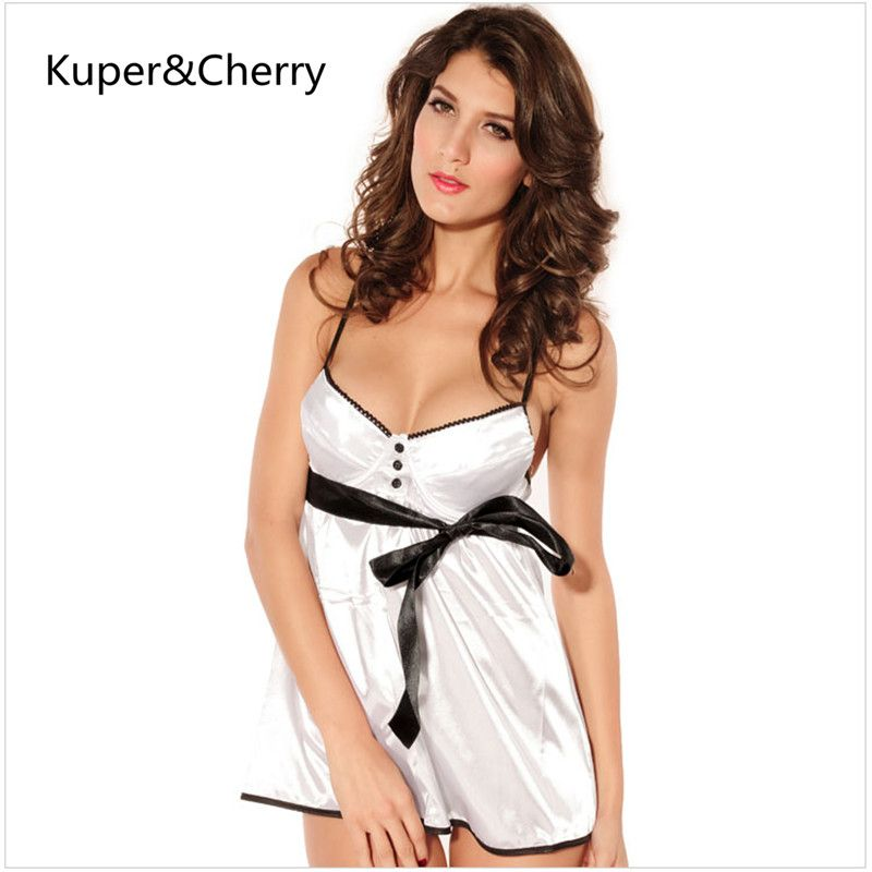 Kuper&Cherry 2 Colors Women Silk Satin Night Dress Sleeveless ...