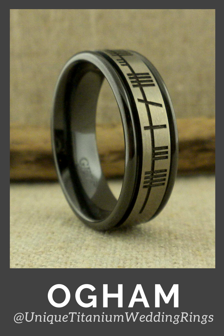 Black Zirconium Ring With Ogham Script Unique Titanium Wedding Rings In 2020 Black Zirconium Wedding Ring Black Zirconium Ring Zirconium Wedding Ring