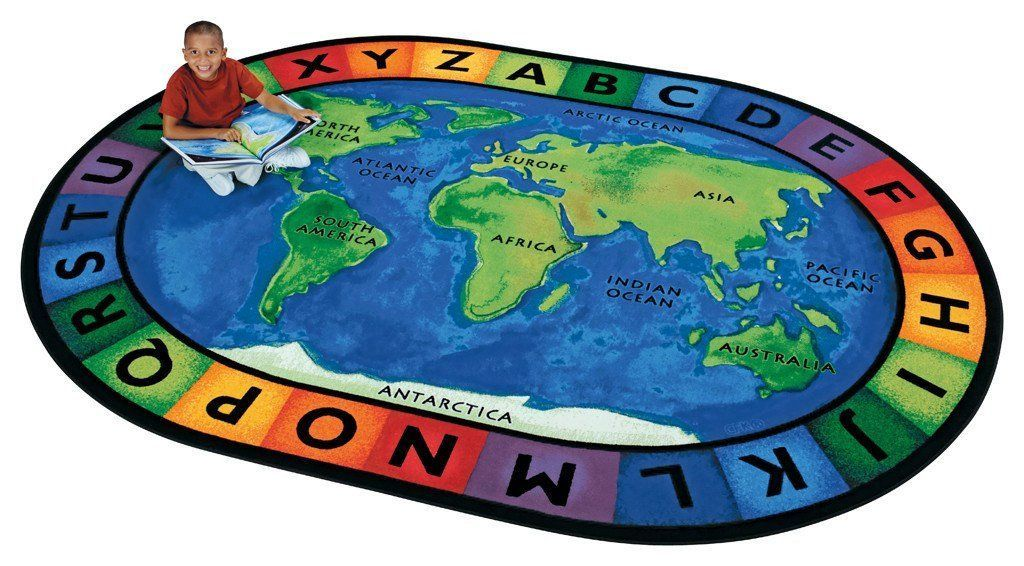 Around the world oval classroom rug 83 x 118 classroom layout the around the world map classroom rug features the oceans and continents plus the alphabet the ultimate learning rug for circle time or anytime gumiabroncs Image collections