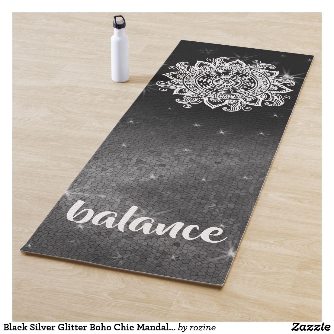 d033479a8d Black Silver Glitter Boho Chic Mandala Zen Balance Yoga Mat