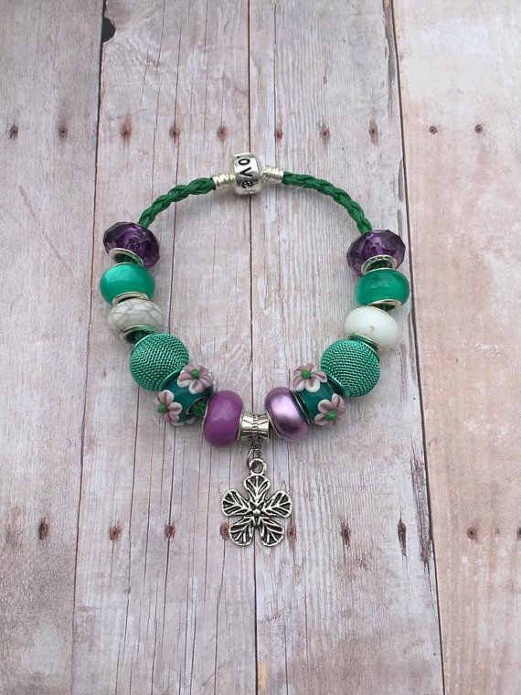 ON SALE - Flower Charm Bracelet - European Bracelet - Flower Bracelet - Green Lampwork Glass Beads - European Beads European Charms