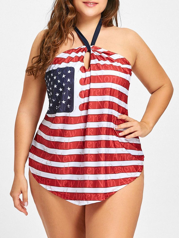 cf9498dc385 Patriotic American Flag Halter Plus Size Tankini Set - US FLAG 3XL ...