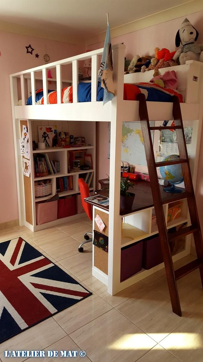 Tall loft bed with slide  Manon Théroux manonthroux on Pinterest