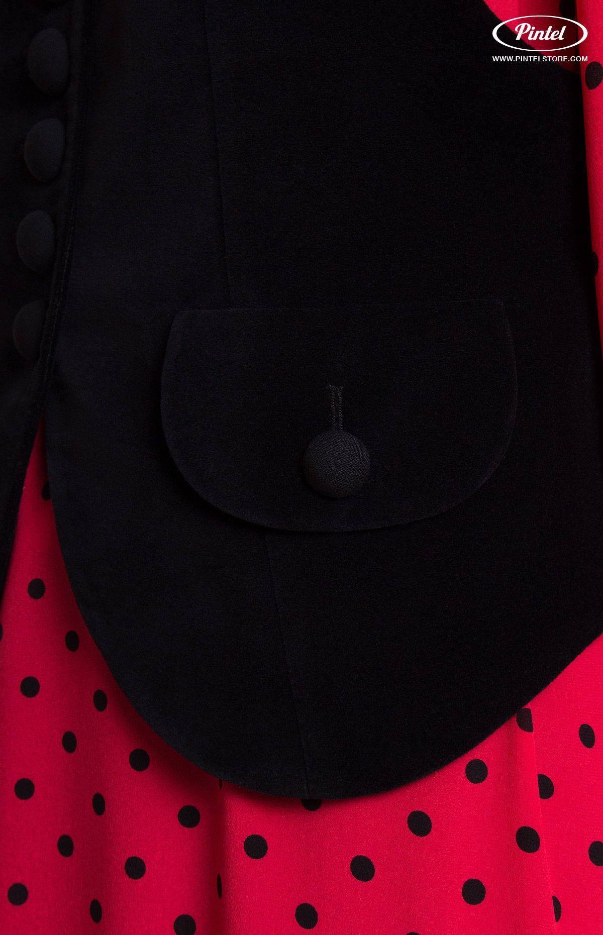 Combined suit boxy genuine red polka dot silk flounce mididress
