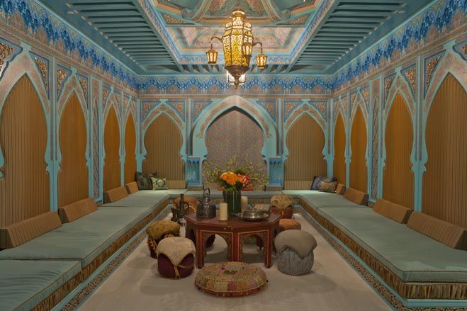 Amazing, i love this home! The Moroccan room in Mr. Hadid's house has detailed painted walls and an imported chandelier. Mr. Hadid says he sees guests gravitating towards these underground spaces during parties.