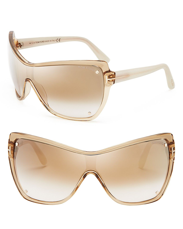 Tom Ford Ekaterina Mirrored Shield Sunglasses | Bloomingdale\'s ...