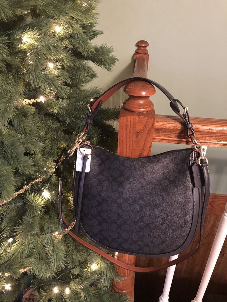 fde2b0361efc 38580 Coach Charcoal Mid Navy Signature Coated Canvas Sutton Hobo Crossbody   325
