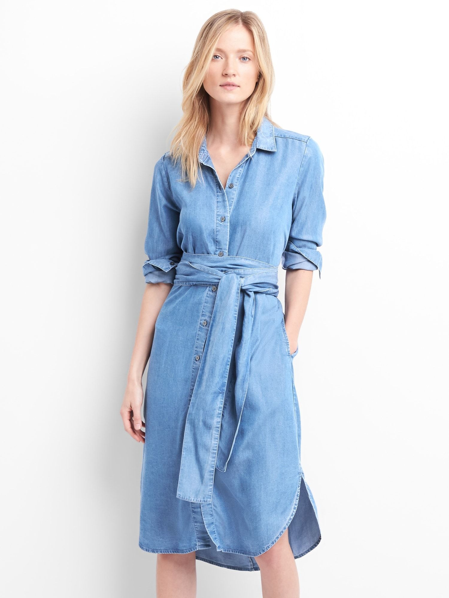 dfd3bb2fb7e TENCEL™ tie-waist midi shirt dress