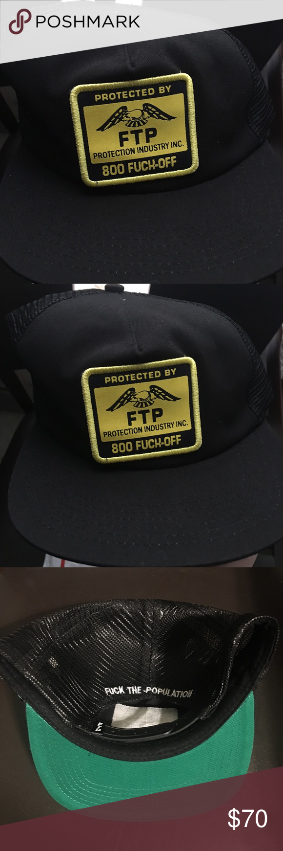 a88e8f278b6 Black FTP Protection Patch Snapback Trucker Hat Black FTP F ck The  Population Protection Patch Snapback Trucker Hat. Hat was only worn one  time.