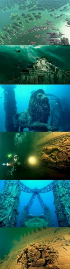 La Ciudad Leon sumergida en las aguas de China esta a una profundidad entre26 y40 metros en el hermoso lago de las mil islas( lago Qiandao) unas ruinas de casi dos mil años de antigüedad