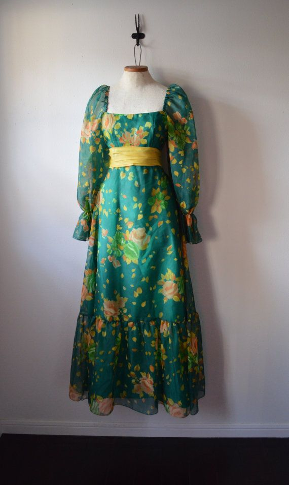 Vintage Dress 1970's Teal and Yellow Sheer Floral Maxi Dress with Puff Sleeves and Large Flounce Big Bow Size Extra Small on Etsy, $37.50