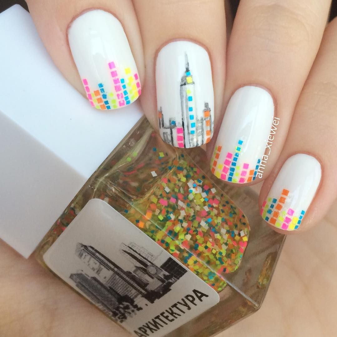 Neon Multicolor Skyline Nails