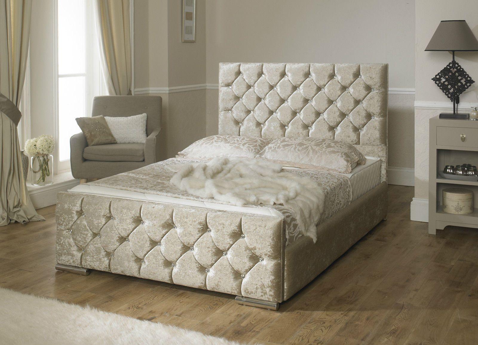 monoco fabric velvet upholstered bed frame storage 3ft 4u00276 double 5u0027 king size