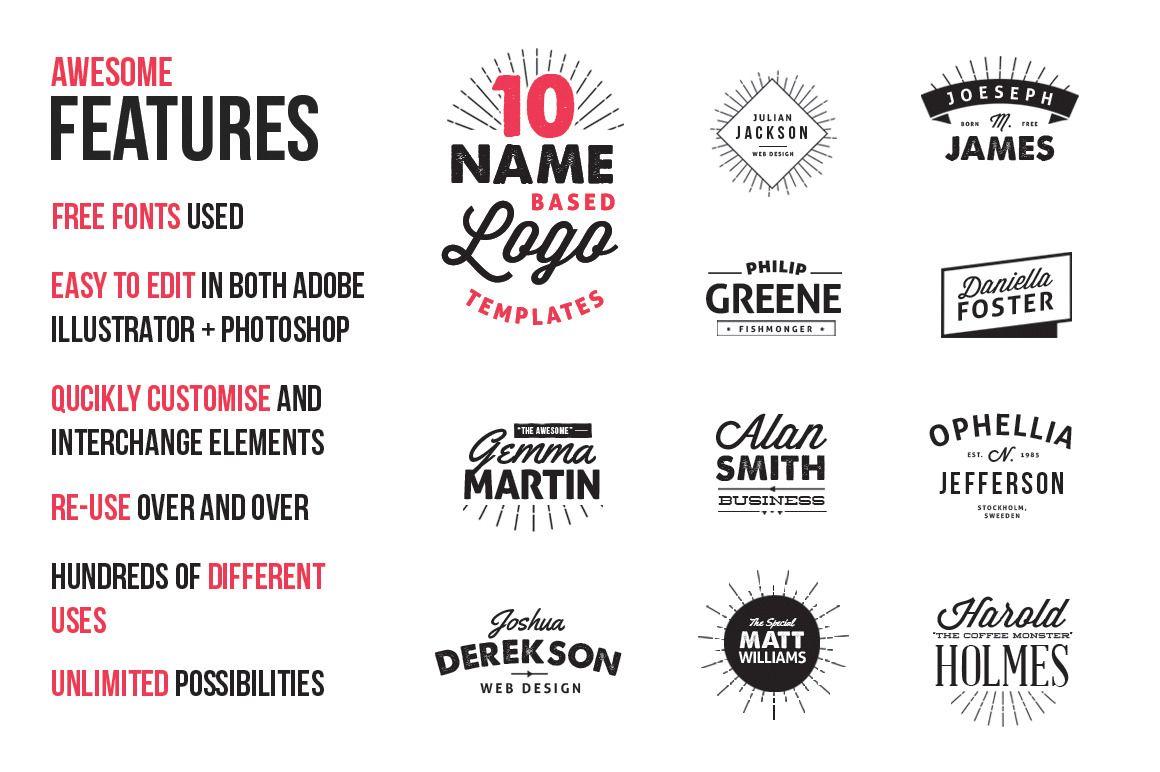 10 Name Based Logo Templates Logo templates, Templates