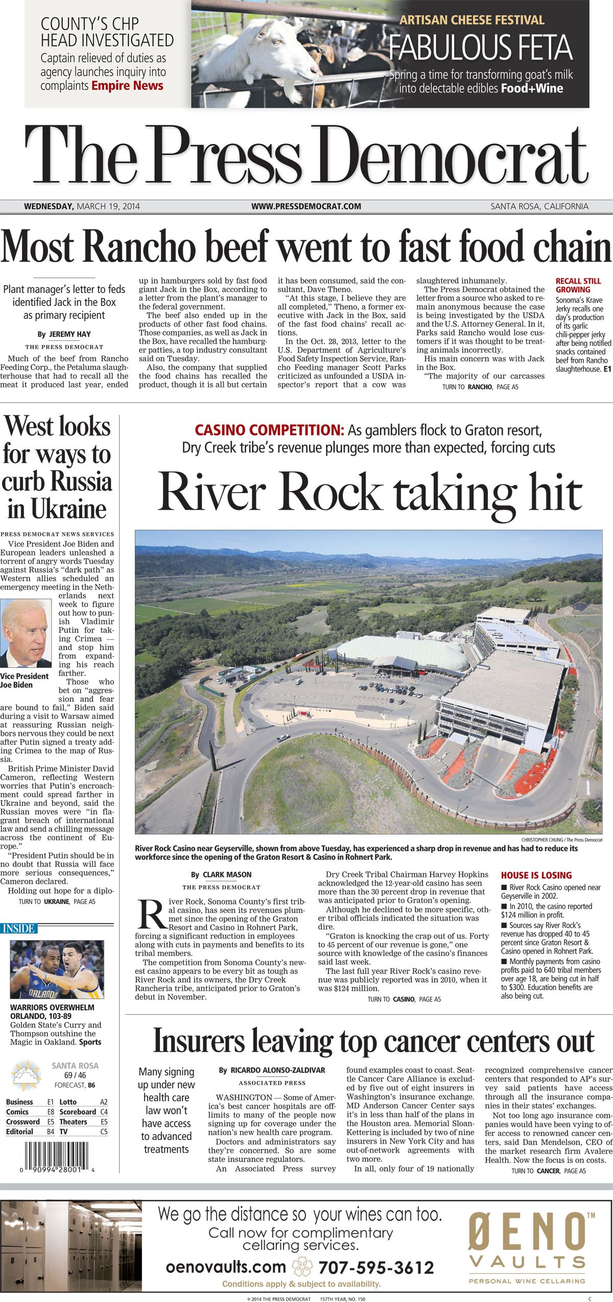 Press Democrat front page from Wed. March 19, 2014.