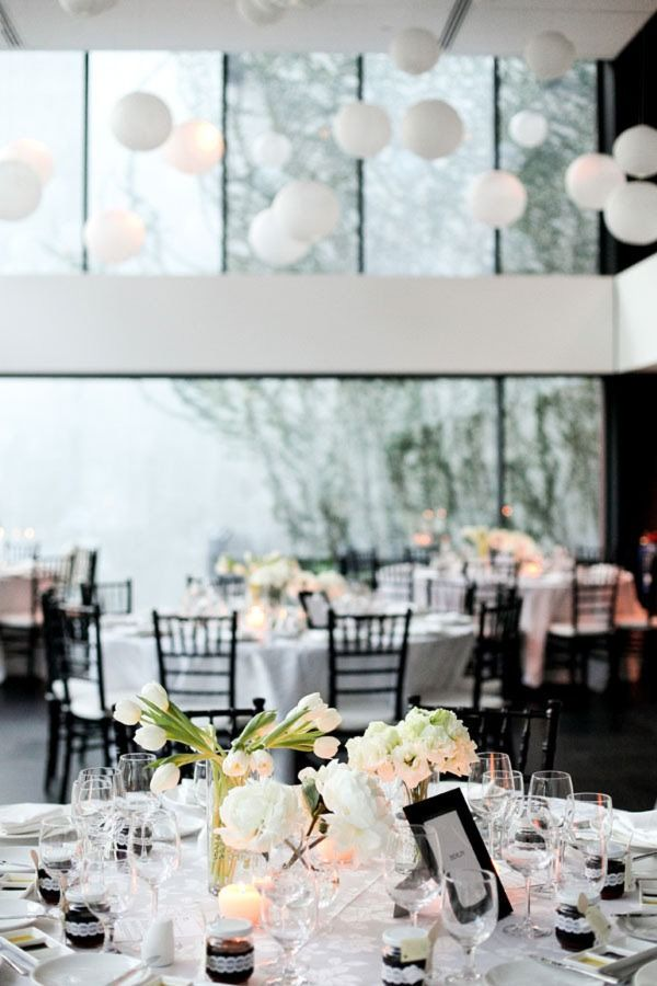 high ceilings, black and white decor, modern venue. so chic.