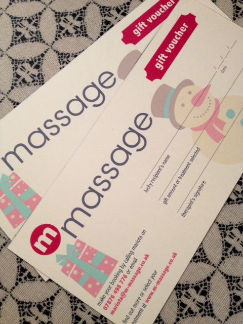 Beautiful Christmas gift vouchers, designed especially for m massage