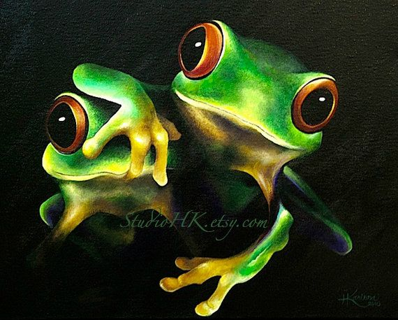 """16"""" x 20"""" Original Bright Acrylic Painting on Canvas of Two Tree Frogs"""