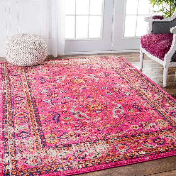 Nuloom Traditional Vintage Floral Distressed Pink Rug 7