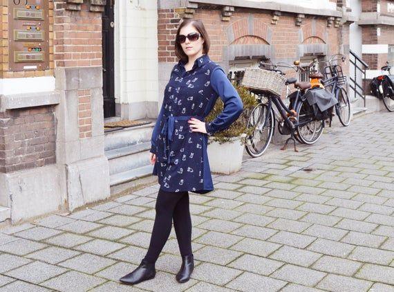 Photo of Blue shirt dress minidress shirtwaist dress dark blue origami cat geometric pattern OOAK everyday of
