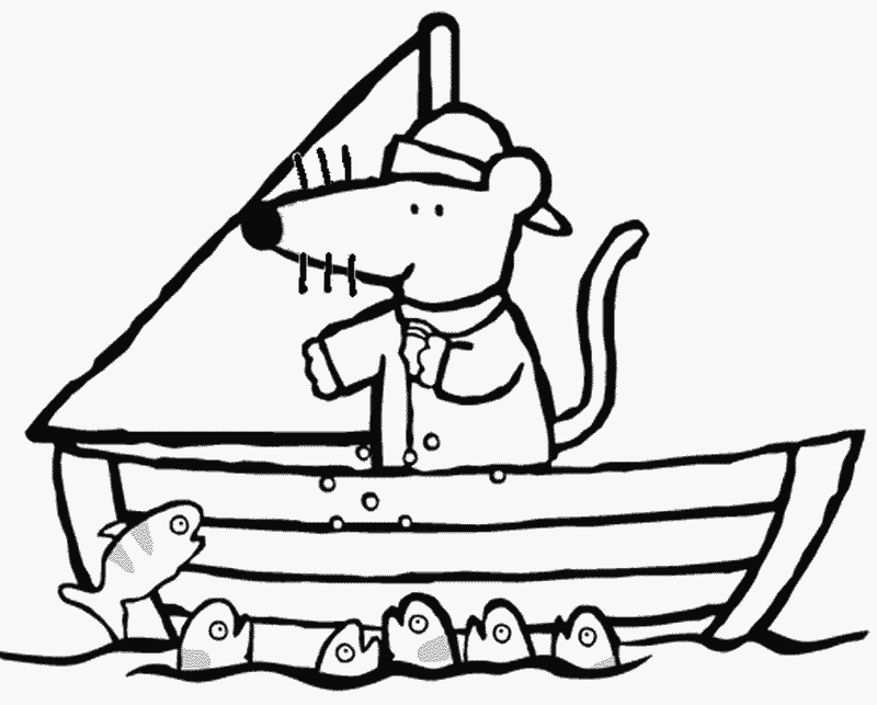 Maisy Coloring Page Open BookColoring