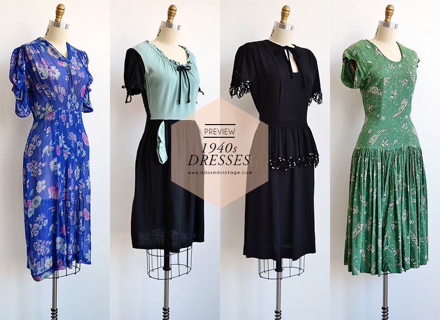 Vintage 1940s Dresses coming soon to Adoredvintage.com | wearables ...