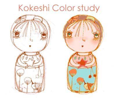 Kokeshi by Marjorie Ann.