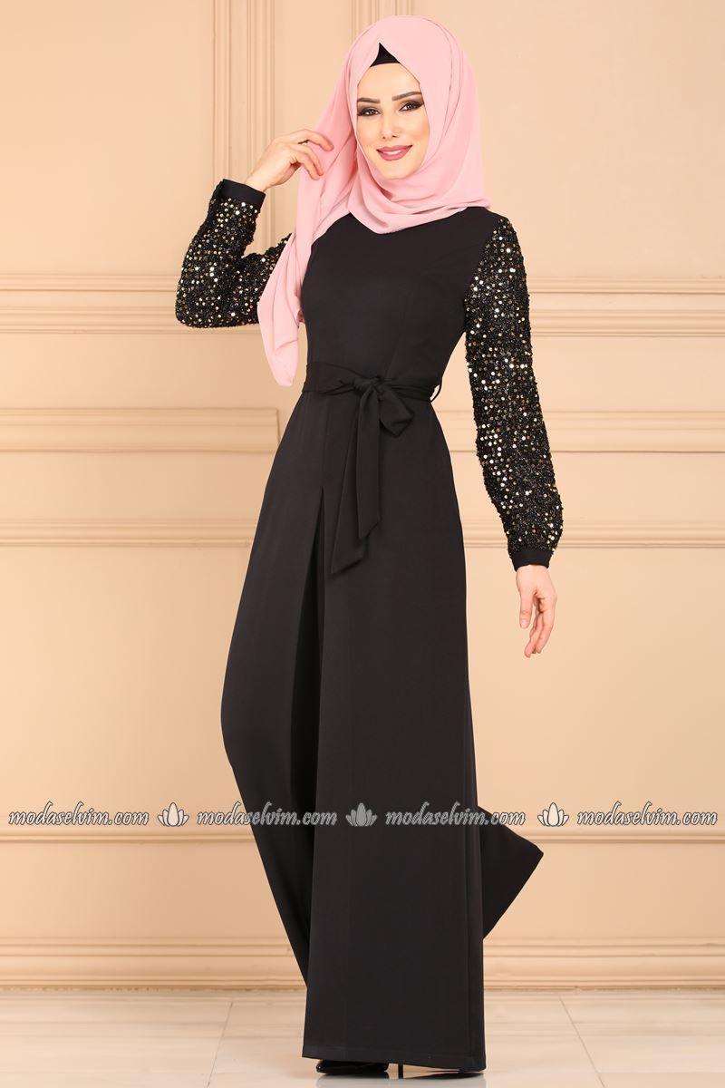 Moda Selvim Kollari Pul Payetli Tulum 6602m108 Siyah Kadin Giyim Kiyafet Elbiseler
