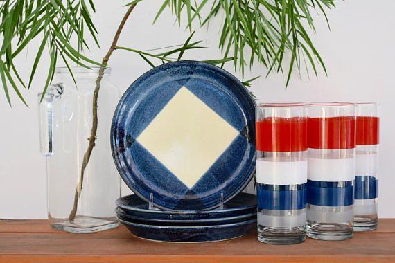 Mikasa Potters Art Salad Plates Ben Seibel Design Free Style Blue
