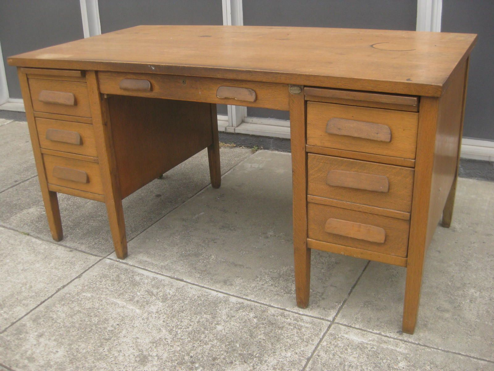 UHURU FURNITURE & COLLECTIBLES: SOLD - Oak Teacher's Desk - $75